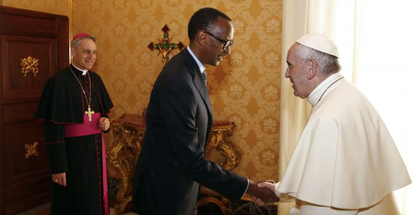 Pope Francis, welcomes Rwanda's President Paul Kagame during a private audience at the Vatican, Monday, March 20, 2017. (Credit: Tony Gentile/Pool photo via AP)