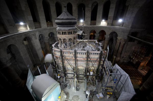 During restoration work, scientists discovered that much of the Edicule rests on a foundation of unstable rubble, decayed mortar and tunnels. (PHOTOGRAPH BY ODED BALILTY, AP FOR NATIONAL GEOGRAPHIC)