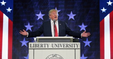 Trump's last speech at Liberty University, in January 2016. (Chip Somodevilla/Getty Images)