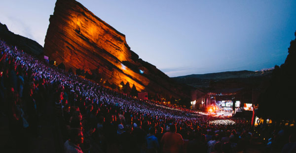 Tomlin leads thousands in worship at Red Rocks Amphitheater in 2015.