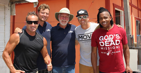 Pictured on the Baja Christian Ministries/God's Not Dead Missions work site in Baja, Mexico: (l-r) Newsboys' Duncan Phillips; Eric Prager, executive director, Baja Christian Ministries; Bob Sanders, founder, Baja Christian Ministries; God's Not Dead Missions Director and musician, Adam Agee; and Newsboys' Michael Tait.