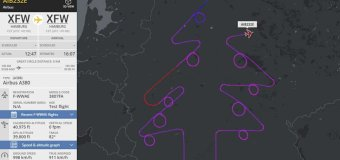 Pilot Traces Christmas Tree in Skies Over Germany During Airbus Test Flight