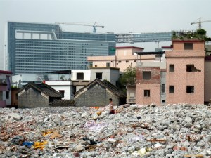 Flattened former rural village in Guangzhou (Photograph by Hyun Bang Shin, 2010)