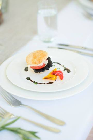 Goat cheese millefeuille with Balsamico glaze and smoked Portobello mushrooms