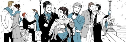 The Infernal Devices in winter, by Cassandra Jean. From left: Gideon, Sophie, Henry, Charlotte, Will, Tessa, Jem, Gabriel, Cecily, Magnus, and Jessamine.