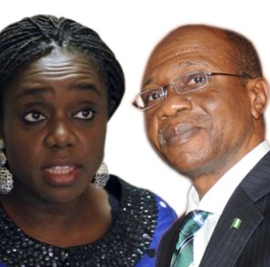 Minsiter of Finance, Kemi Adeosun, and Central Bank of Nigeria, CBN, Governor, Godwin Emefiele: When two Elephants fight, the grass suffers...and where is President Muhammadu Buhari in all of this?