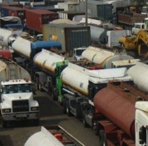 Tankers and othersblocking the road leading to Tincan Port, Apapa