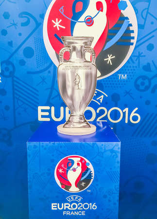 Bangkok  Thailand   April 23  2016  Background Of The 2016 UEFA      56982689   Bangkok  Thailand   April 23  2016 Paper model of champion cup  for the 2016 UEFA European Championship in France at Future Park shopping  mall