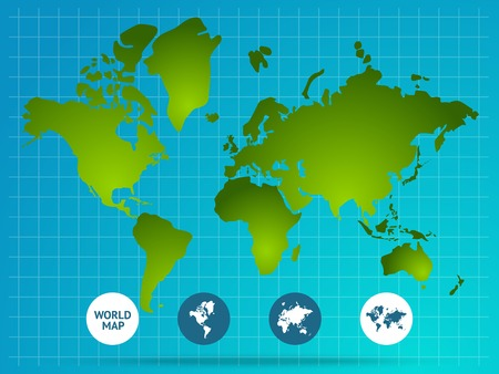 World Map Page Of Website With Green Continents Grid Buttons     Vector   World map page of website with green continents grid buttons at  bottom on blue background vector illustration
