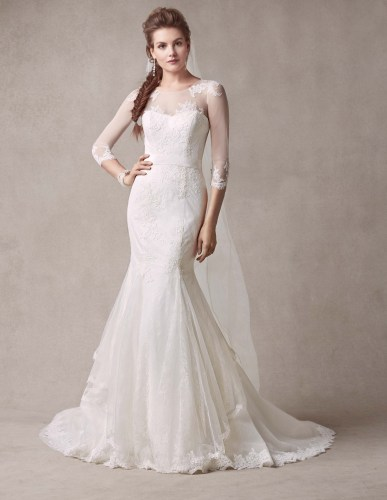 selling melissa sweet wedding dress style ms size 2 illusion neckline and 3 4 sleeves melissa sweet wedding dresses MODEL FRONT 1