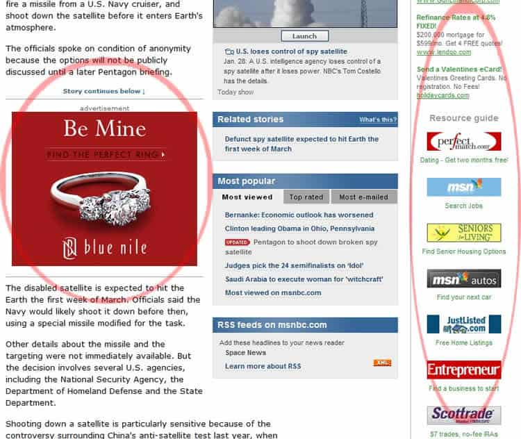 web design mistakes - too many ads