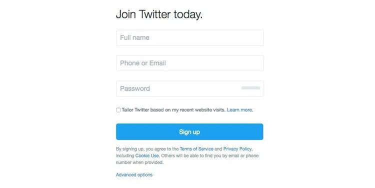 Twitter's registration form (Image source: Twitter)