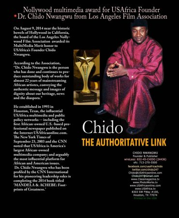 Nollywood multimedia merit award to USAfrica's Chido Nwangwu from Los Angeles Film Association