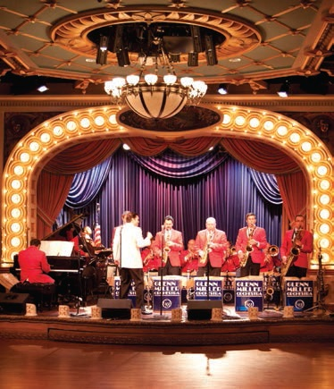 Big Band Swing music theme Mississippi River cruise aboard the paddlewheel American Queen - big band guest orchestra performance in the Grand Saloon.
