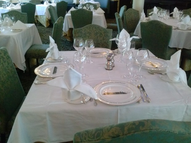 The tables are set - quite beautifully! But whats that on the plate?