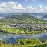 Picturesque bend of the river Rhine near the town Filsen, Germany, Rhineland-Palatinate