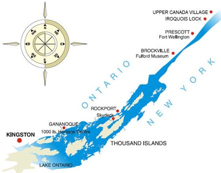 Upper River Expedition Itinerary Map St Lawrence Cruise Lines St. Lawrence River from Kingston to Upper Canada Village. Kingston, roundtrip. 5-day cruises