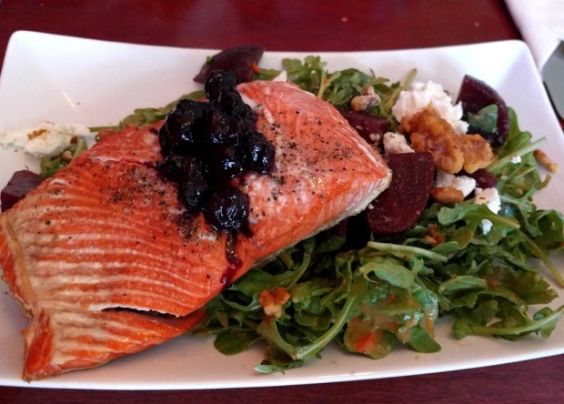 A plate of salmon caught in the Pacific Northwest