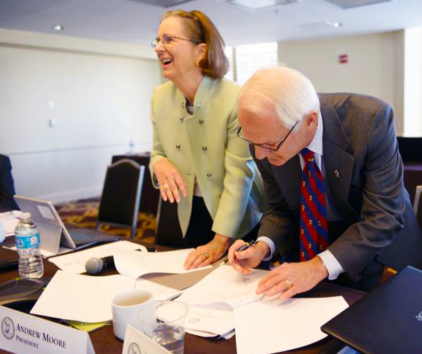 Nancy Wilkie, President of the U.S. Committee of the Blue Shield, and Andrew Moore, President of the Archaeological Institute of America, President of the Archaeological Institute of America