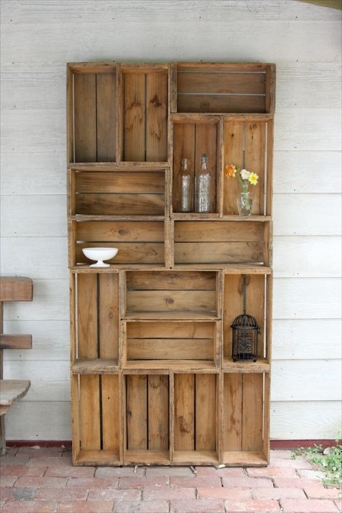 29 ways to be sustainable by decorating with wooden crates - Decorative wooden crates ...