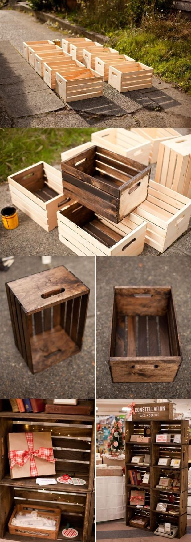 29 ways to be sustainable by decorating with wooden crates for Uses for wooden boxes