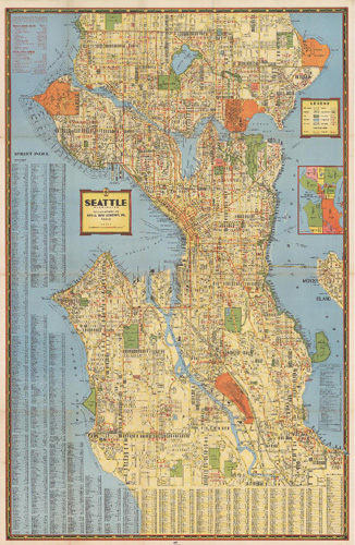 Historical Seattle Maps by Kroll Kroll s circa 1940 Seattle Map 2 x 3    39 95