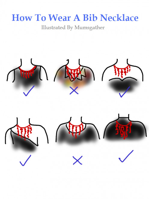 I drew this simple illustration using my fingers to show the different ways to wear a bib necklace because I couldn't find a picture to put my point across