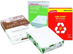 Recycled paper is a simple way to perform green jobs in any office. Image from OfficeGreeners.