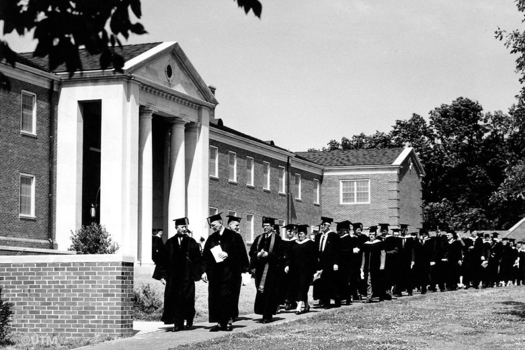 UTM graduates lined up outside the Hall-Moody Building