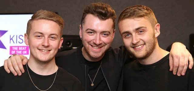 Sam Smith and Disclosure visit Rickie, Melvin and Charlie on KISS FM Breakfast show at Kiss FM Studio's on June 30, 2015 in London, England.