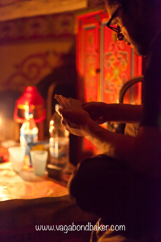 playing cards by candlelight