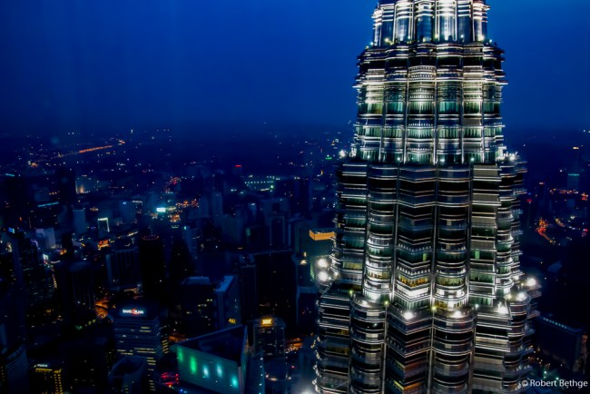 Top of Petronas Towers in the dawn