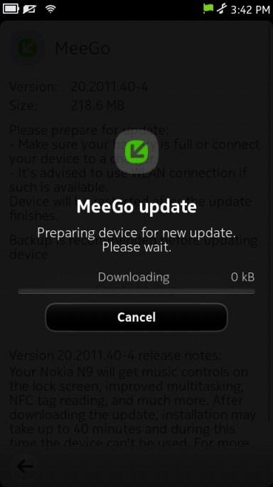 Nokia N9 PR 1.1 Update