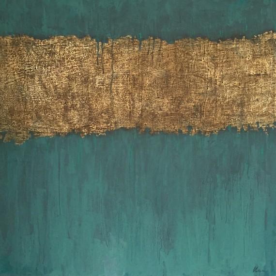 VIBRATIONS - Acrylique et cuivre sur toile de lin 90 x 90