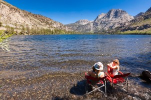 Day Three: Relaxing on the shore of Silver Lake in front of our campsite