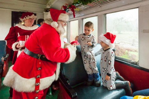 Mendocino County's Skunk Train turned into the Magical Christmas Train for our ride today