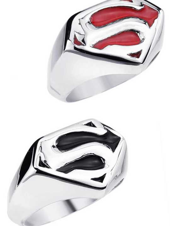 Vamers Store - Jewellery - Stainless Steel Superman Ring - Classic House of El Sigil - VS-JWL-RING-DCSSOR - Black and Red