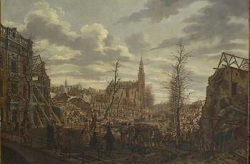Het Rapenburg te Leiden drie dagen na de ontploffing van het kruitschip op 12 januari 1807 - Johannes Jelgerhuis, 1807