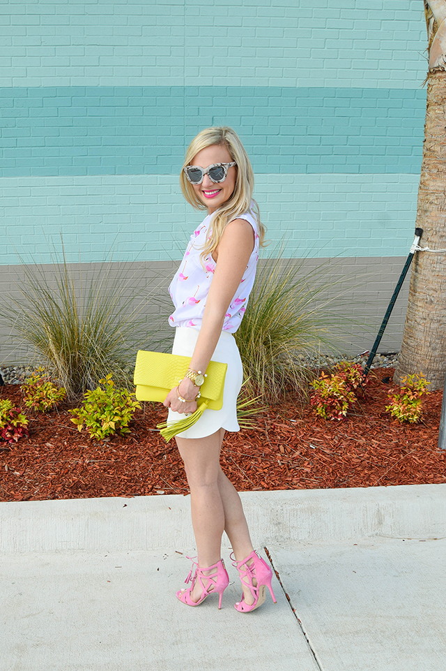 vandi-fair-lauren-vandiver-dallas-texas-southern-fashion-lifestyle-blogger-2-year-blogiversary-24-things-about-me-goodnight-macaron-pink-flamingo-shirt-topshop-white-scallop-mini-skirt-3