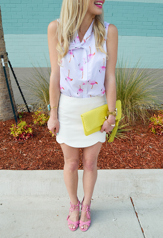 vandi-fair-lauren-vandiver-dallas-texas-southern-fashion-lifestyle-blogger-2-year-blogiversary-24-things-about-me-goodnight-macaron-pink-flamingo-shirt-topshop-white-scallop-mini-skirt-5