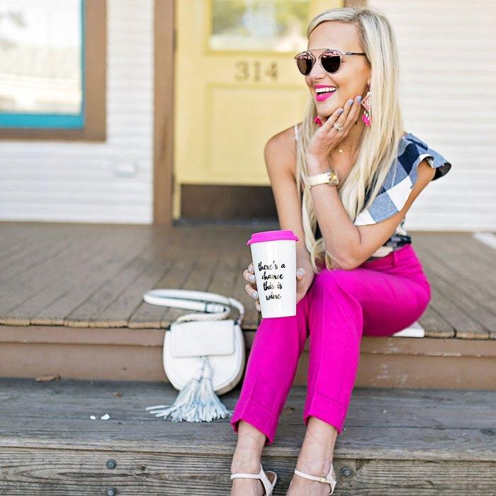 vandi-fair-blog-lauren-vandiver-dallas-texas-southern-fashion-blogger-goodnight-macaroon-flash-sale-bess-one-shoulder-gingham-top-navy-j-crew-pink-crop-pants