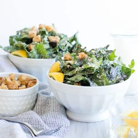 Vegan Caesar Salad Dressing with Massaged Kale and Parmesan | Vanilla And Bean