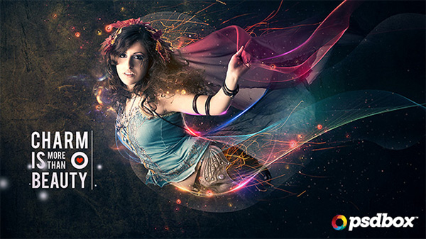 Beautiful Lady with Flowing Light Effects