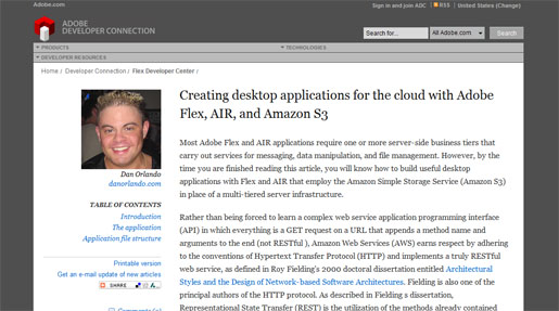 Creating Desktop Applications for the Cloud with Adobe Flex, AIR, and Amazon S3