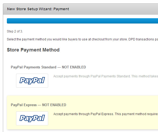 Setting up payment data