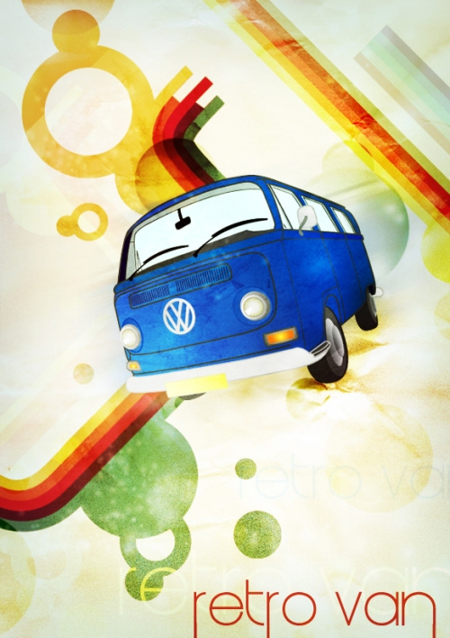 How to Create a Retro Hippy Van Poster in Photoshop