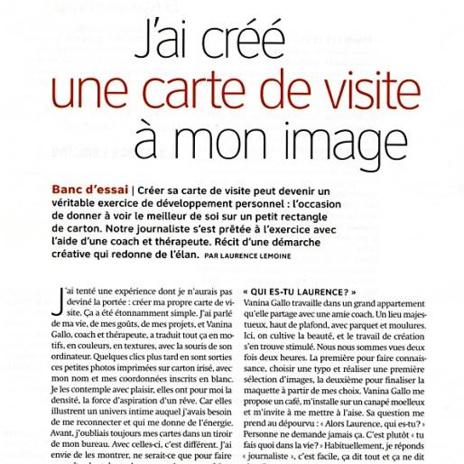 Psychologies Magazine carte de visite projet