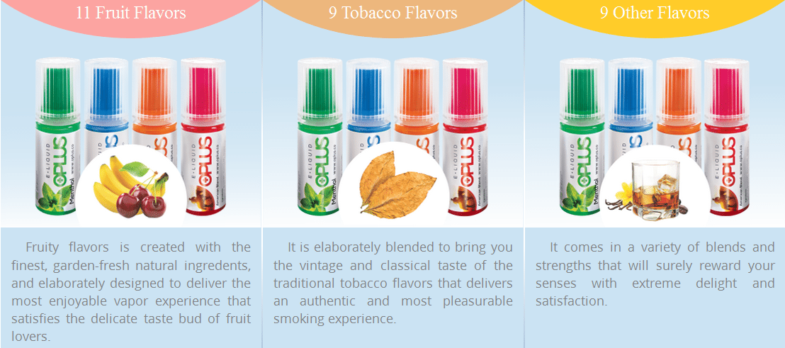Oplus E-Liquid Flavours