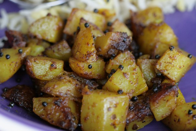Rai chi bataati or Mustard Spiced Potatoes