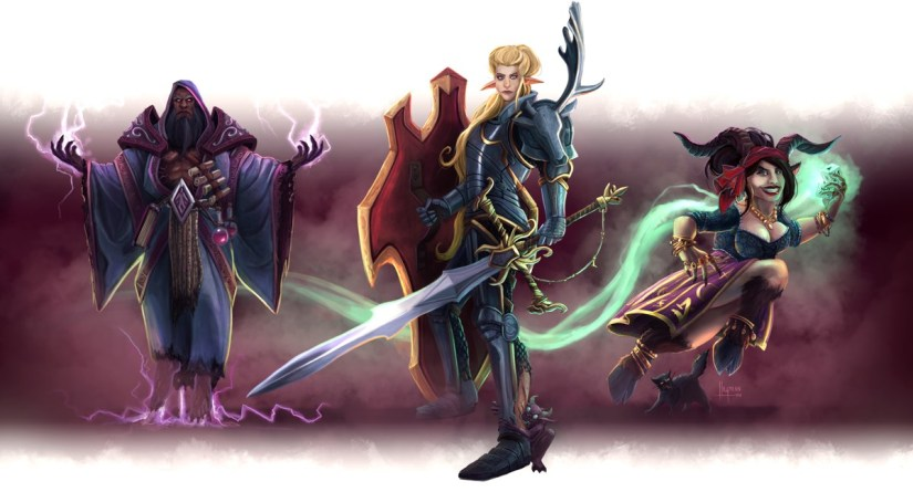 Legendary fantasy character: wizard, paladin, rogue.